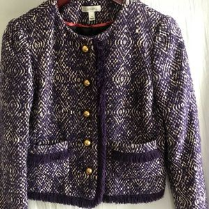 J. Crew Purple Tweed Blazer Size 4